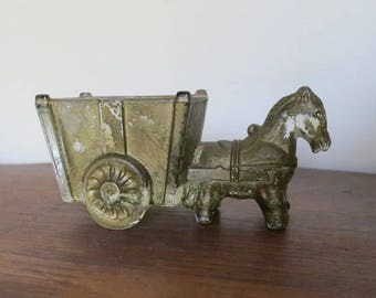 Vintage 1940s Novelty Candy Container, Horse or Donkey and Cart Glass Candy Container, old gold paint