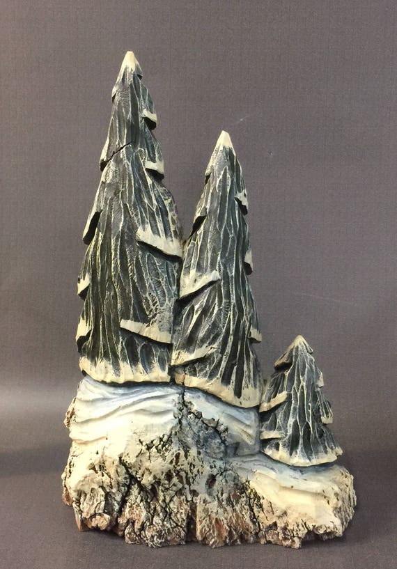 HAND CARVED original rustic tree sculpture from 100 year old Cottonwood Bark.