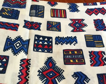 Red and Blue Indian Print Cotton Fabric, 1 yard by 45 inches wide, White Background