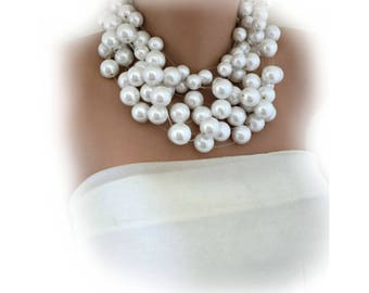Pearl Choker,  White Pearl Necklace , Handmade Layered Brides Statement Pearl Necklace,
