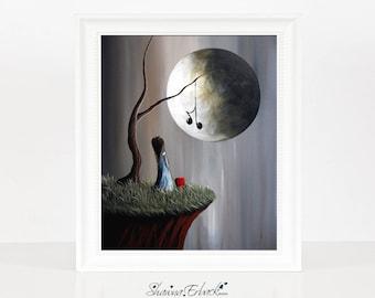 Tree Of Promise - Music Lover Gift - Limited Edition - Girl With Heart Pet - Erback Art - Fantasy Art - Full Moon Art - Original Art Prints
