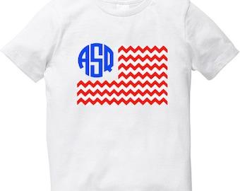 SALE Boys July 4th shirt with Monogram American Flag
