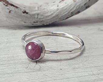 Pink Tourmaline Ring Tourmaline Stacking Ring 6mm Tourmaline Sterling Silver Ring