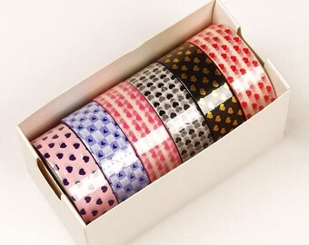 New Years Sale 6 piece packs 10 Yards of Colorful Mini Hearts Pattern Washi Tape Assortment