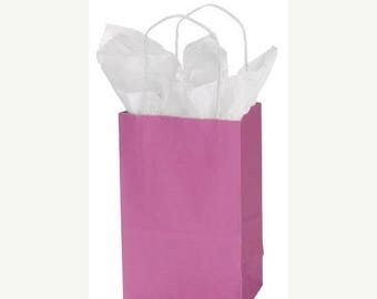 New Years Sale 25 pack Hot Pink Recycled 5.25 x 3.5 x 8.5 inch Paper Handle Bags