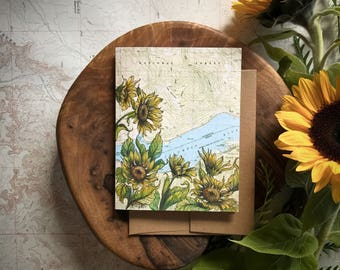 Dog Mountain Greeting Card, Columbia River Gorge illustration card, Washington mountain flower card, print art topo map art, blank card