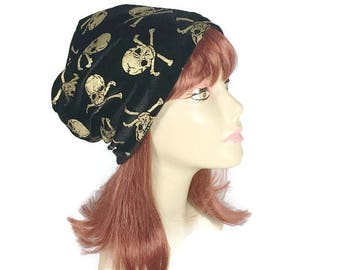 FREE SHIPPING Gold Skull Slouchy Hat Black Velvet Slouchy Beanie Gold Skull and Crossbones Goth Hat Skull Hat Halloween Hat Goth Beanie