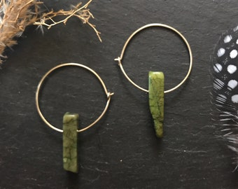 Small Hoops Thin Gold Brass Hammered