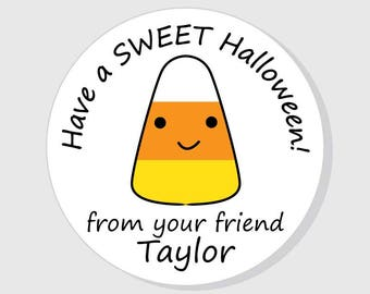 halloween stickers personalized happy halloween candy corn 15 inch 2 inch 25 - Happy Halloween Stickers