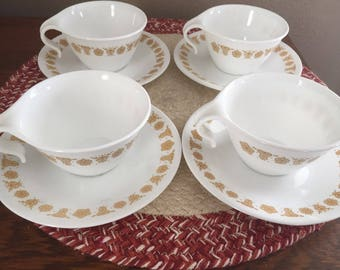 Set of 4 Butterfly Gold Corelle by Corning Cups and Saucers 1970's