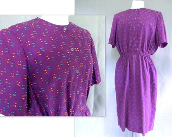 Purple Dress, Vintage 1980's Shirt Waist, Modern Size 16 - 18, Large to Extra Large
