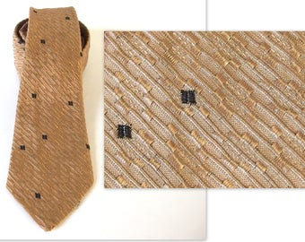 Tan Textured Tie with Scattered Blocks from Wembley