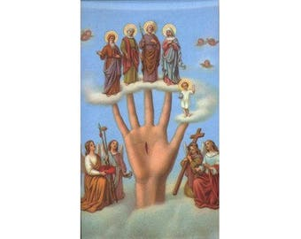 5 Most Powerful Hand (Mano Poderosa) Holy Cards - Prayer Cards - for Shrines, Card Making, Memories and More