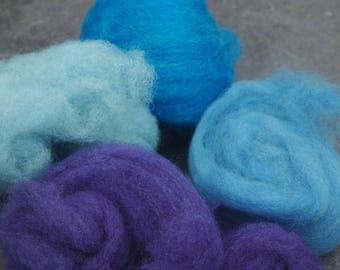 Mixed Blues, purple,  hand dyed, hand carded wool batts  50 grams