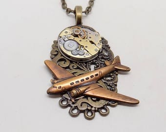 Steampunk pendant. Steampunk airplane necklace.