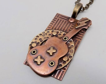 Mixed metal guitar steampunk jewelry necklace pendant. Steampunk jewelry.