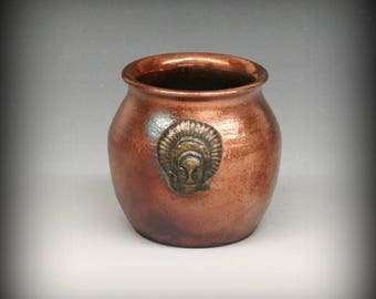 Raku Pot with Tribal Face