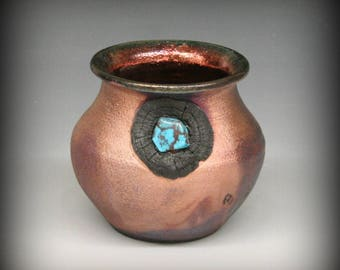 Raku Pot Copper Metallic with Turquoise Stone