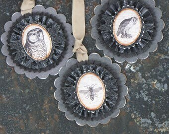 Set of THREE Vintage HALLOWEEN Inspired Gift Tags Ornaments Victorian Paper Rosettes Owls Bee