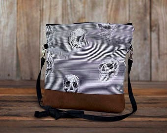 Striped Skull Slouchy cross body bag with faux leather
