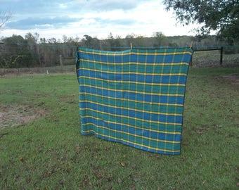Plaid Wool Blanket | Wool Stadium Blanket | Primitive Farmhouse Rustic Cabin Decor Plaid PicnicThrow
