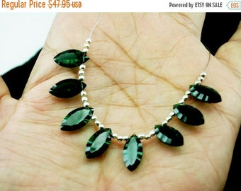 Sale 45% off 8Pcs 4 Matched Pair AAA Chrome Green Quartz Concave Cut Marquise Briolettes Size 14x7mm approx