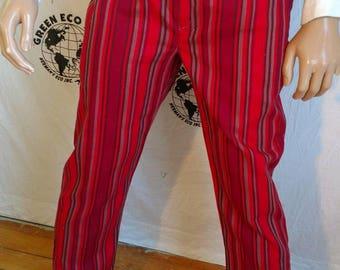 """Steampunk Pants Herman's 32"""" by 31"""" red striped vtg cotton dress pants"""