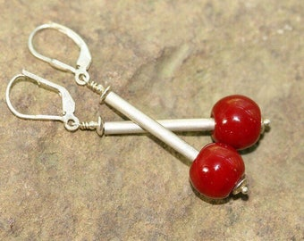 Maroon Red Lampwork Glass and Sterling Silver Drop Earrings, Handcrafted Modern Art Glass Jewelry, Contemporary, Geometric, Simplistic, Chic