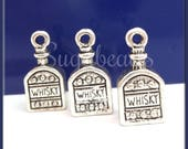 4 Antiqued Silver Whisky Charms - Cute Whiskey Charms - Silver Whisky Jug Charm 18mm PS227