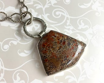 Petrified Dinosaur Bone Sterling Silver Necklace Brown Rust Taupe Natural Stone