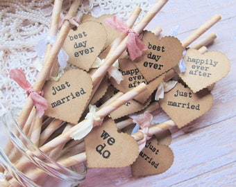 Just Married Paper Party Straws with Kraft Tags - Set of 16 Ready to Ship - Rustic Shabby Wedding Drink Vintage Style best day ever