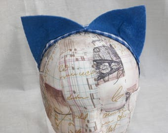 Blue Felt or Pink Leopard Print Cat Ears Soft Headband Fun Easy Costume Ears Choose your Print