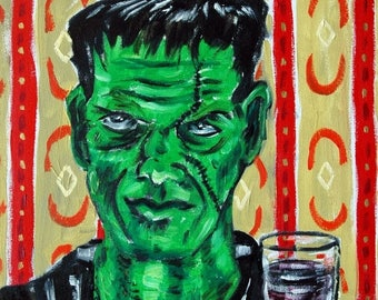20 % off storewide FRANKENSTEIN at the wine bar art PRINT poster gift modern folk pop art