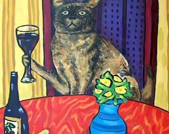 20 % off storewide Burmese Cat at the Wine Bar Animal Art Tile Coaster