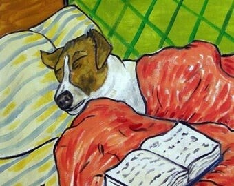 20 % off storewide Jack Russell Terrier Taking a Nap Dog Art Tile