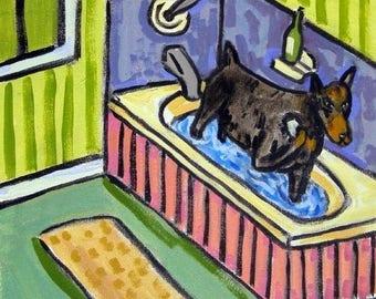 20% off storewide Doberman Pinscher PRINT on tile, ceramic coaster, bathroom art, modern dog folk art, doberman art, dog print on tile