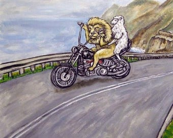 20% off The lion and the Lamb Riding a Motorcycle Animal Art Tile