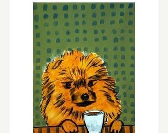 20% off Pomeranian at the Coffee Shop Dog Art Print