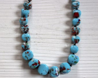 Vintage blue splatter glass necklace