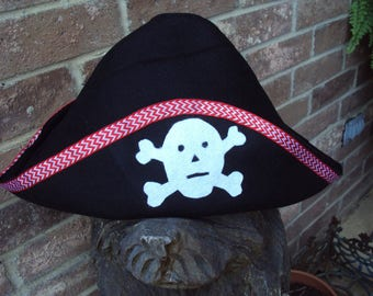 Pirate hat for children, skull and cross bones, Davy Jones Locker,  AARG