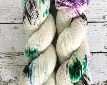 FLUTTER VALLEY - Hand Dyed Yarn - Sparkle Sock Yarn Fingering - Ready to Ship - Vivid Yarn Studio