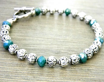 Silver Colored Bracelet Aqua Accents Beaded Bracelet Toggle Clasp