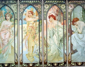 NEW! Alphons Mucha Days of Week Painting Print on Canvas Ready to Hang Museum Quality