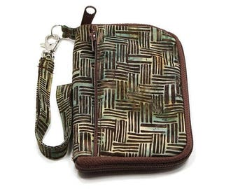 Summer Clearance iPod Case, iPhone Cell Phone Case, Smartphone Phone, Wristlet, Brown and Green Batik