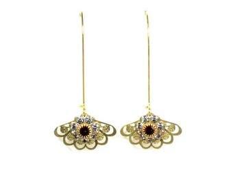 HALF PRICE SALE Vintage golden red blue crystal flower filigree fan charm dangle earrings