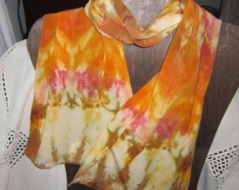 Heart of Gold - Hand Dyed Crepe de Chine Silk Scarf
