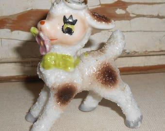 Vintage Salt Popcorn Glazed Lamb Figurine, Halo Lamb Figurine, Vintage Lamb