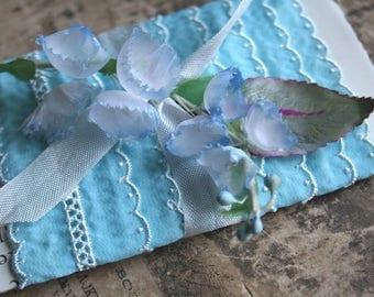 Blue Frost Vintage Trim - Scallop Lace Trim Card - Baby Doll Blue Vintage Trim - Vintage Eyelet Lingerie Trim