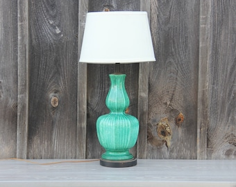Chinoiserie Emerald Green Pottery Lamp Zaccagnini Hollywood Regency