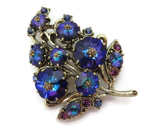 Weiss Rivoli Brooch - Vintage Heliotrop Blue Purple Rhinestones 1950s Costume Jewelry